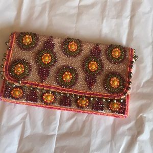 Anthropologie beaded clutch with strap